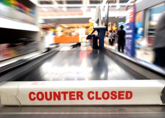Cashier counter closed sign