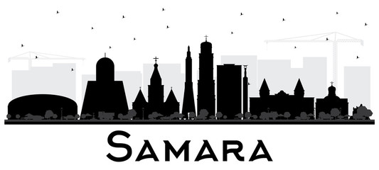 Samara Russia City Skyline Silhouette with Black Buildings Isolated on White.