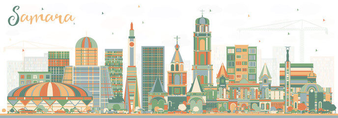 Samara Russia City Skyline with Color Buildings.