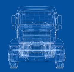 Concept truck. Vector rendering of 3d