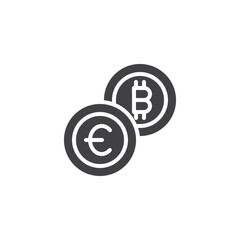Euro and bitcoin currency exchange vector icon. filled flat sign for mobile concept and web design. Crypto-currency exchange simple solid icon. Symbol, logo illustration. Pixel perfect vector graphics