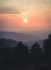 Zachód słońca na Moutain w lecie