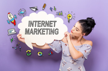 Internet Marketing with young woman holding a speech bubble