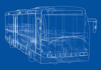 Concept city bus. Vector rendering of 3d