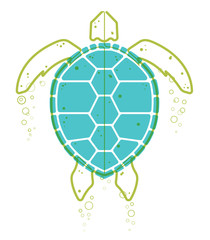 Sea Turtle Continuous Line Vector