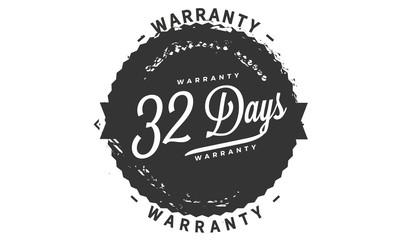 32 days warranty icon vintage rubber stamp guarantee