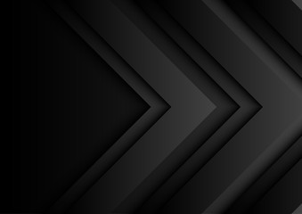 Abstract black arrows on black background with paper cut style.For business template.Vector illustration.