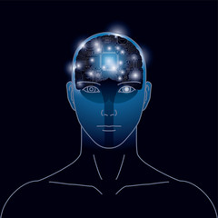 人工知能、脳のイメージ