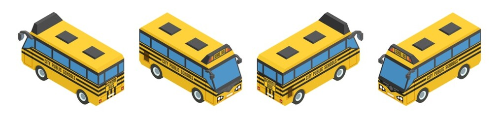 small isometric yellow school buses