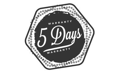 5 days warranty icon vintage rubber stamp guarantee