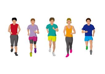 ジョギングを楽しむ人達