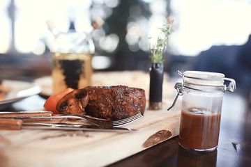 meat on charcoal shish kebab grill smoke