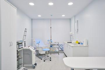 modern medical clinic, bright blurred background, corridor, spacious modern medical facility, hospital new