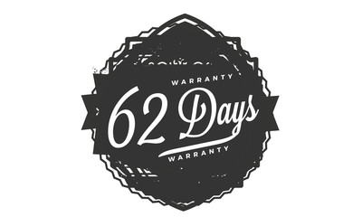 62 days warranty icon vintage rubber stamp guarantee