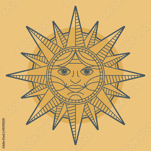 Vintage Sun Face Compass Rose