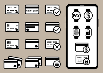 set of mobile payment solution icons