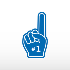 Foam finger. Number 1, blue glove with finger raised flat, fan hand.