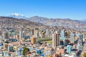 View of the Stadium of La Paz city from Killi Killi balcony in Bolivia, South America