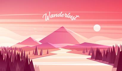 Mountain landscape fir forest river sunset vector