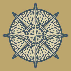 Vintage compass rose sign