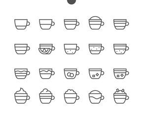 Coffee Types Food UI Pixel Perfect Well-crafted Vector Thin Line Icons 48x48 Ready for 24x24 Grid for Web Graphics and Apps with Editable Stroke. Simple Minimal Pictogram