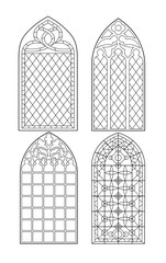Gothic windows. Vintage frames. Church stained-glass windows.