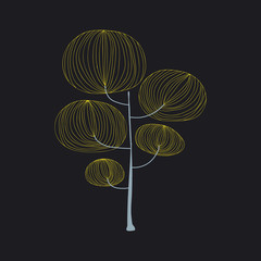 Illustration of tree isolated on black