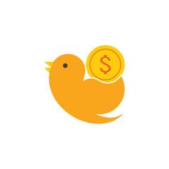 Coin Bird Logo Icon Design