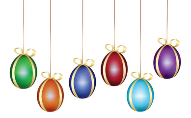 Easter eggs hanging from ribbon with bows vector