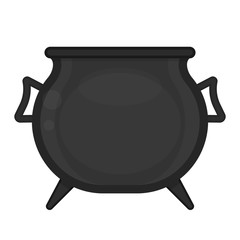 Black pot isolated on white background. Vector illustration of empty old witches cauldron.