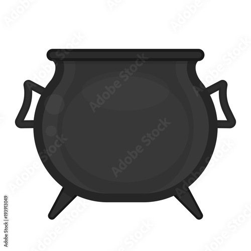 Black pot isolated on white background  Vector illustration