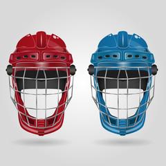 Hockey red and blue helmet on white eps 10 illustration