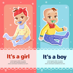 It s a boy and It s a girl vector illustration for baby shower greeting card design. Newborn boy and girl children with pacifiers smiling on blue and pink background for baby shower invitation