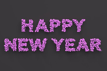 Happy New Year words from violet balls on black background