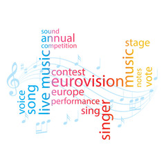 color word collage - eurovision song contest - vector