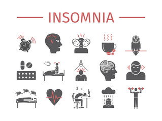 Insomnia, Symptoms. Flat icons set. Vector signs for web graphics.
