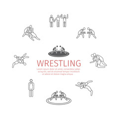 Wrestling banner. Line icons. Greco-Roman. Vector sports signs.