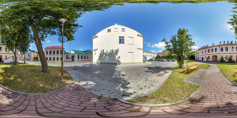 360 panorama exterior in garden old town in sunny day. Full 360 degree angle view seamless panorama in equirectangular spherical equidistant projection. vr content