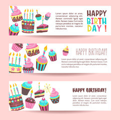 Congratulations on your birthday. Beautiful cute cakes and candlelight cakes. Vector illustration.
