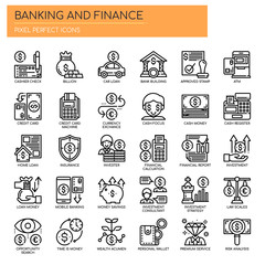 Banking and Finance, Thin Line and Pixel Perfect Icons.