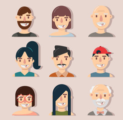 Flat avatar  people face collection