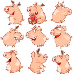 Wall Murals Baby room Set of Cartoon Illustration. Cute Pigs in Different Poses for you Design. Cartoon Character