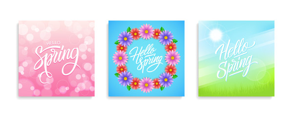 Hello Spring cards set. Springtime season collection with hand drawn lettering and bokeh background, flowers and sun for greeting card, invitation template. Vector illustration.