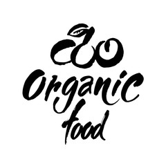 Organic food. Handwritten lettering for restaurant, cafe menu, labels, logos, badges, stickers or icons. Calligraphic and typographic vector illustration
