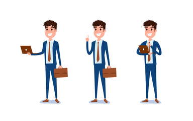 Young businessman character design. Set of guy acting in suit holds laptop, Different emotions, poses and running, walking, standing, sitting.