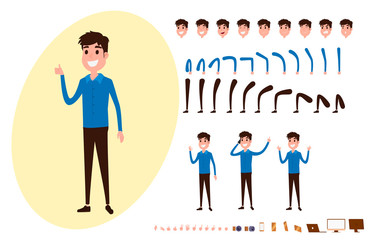 Freelance character creation set for animation. Set of guy in casual clothes in various poses. Parts body template. Different emotions, poses and  running, walking, standing, sitting.
