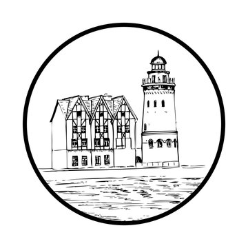 Ethnographic and trade center, embankment of the Fishing Village, Kaliningrad Russia, hand drawn vector ink sketch illustration isolated on white background, vintage engraved for touristic postcard