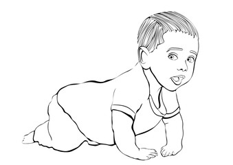 Crawling baby vector outline hand drawing, coloring, sketch. Black and white cartoon small child crawls on the knees, drawn portrait kid full-length in pants and shirt isolated on white background