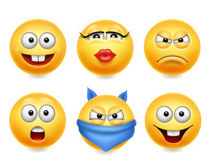 Smiley face icons. Funny faces 3d realistic set. Cute yellow emoji collection