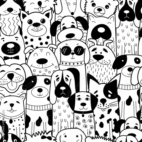 Seamless pattern with black and white doodle dogs